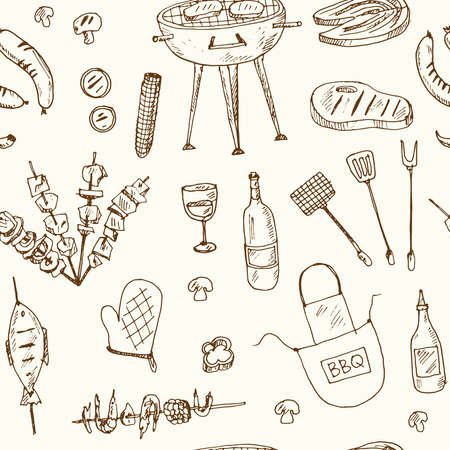 Bbq party set Menu doodle icons on chalkboard. Vector illustration Ilustracja