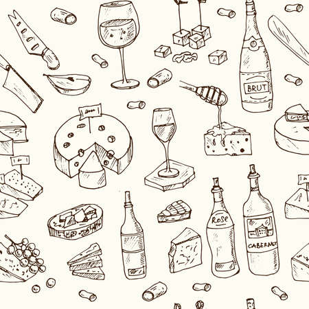 Cheese and wine store seamless pattern with food and drink hand drawn doodles. Vector illustration