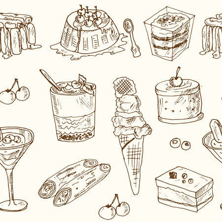Italian dessert seamless pattern with food and drink hand drawn doodles. Vector illustration Ilustracja