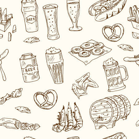 Pub food and beer Menu doodle icons Vector illustration on chalkboard. Vector illustration