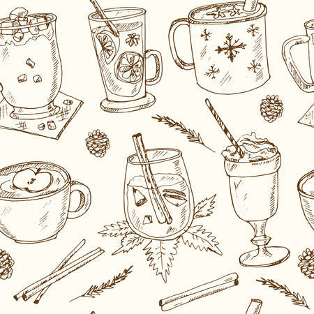 Christmas hot beverages Vector seamless pattern with food and drink hand drawn doodles. Vector illustration Ilustracja