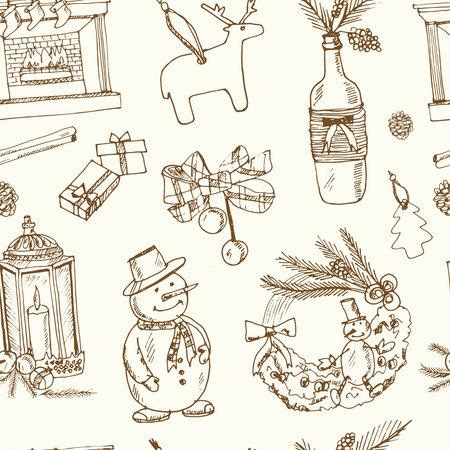 Christmas decoration seamless pattern Menu doodle icons on chalkboard. Vector illustration