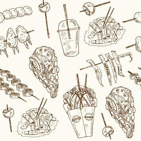 Hong Kong street food Menu doodle seamless pattern on chalkboard. Vector illustration