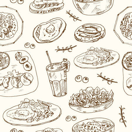 Fitness breakfast seamless pattern with food and drink hand drawn doodles. Vector illustration Ilustracja