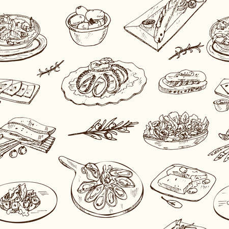 Mediterranean cuisine seamless pattern with food and drink hand drawn doodles. Vector illustration Ilustracja