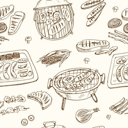 Grill cuisine Menu doodle icons on chalkboard. Vector illustration