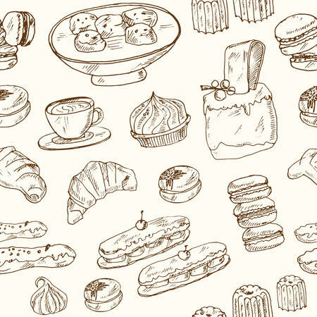 French sweets Vector seamless pattern with food and drink hand drawn doodles. Vector illustration