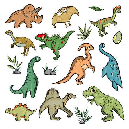 Dinosaur set on white background Cute Cartoon. Vector illustration