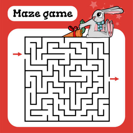 Maze game for children Cute cartoon worksheet Vector illustration