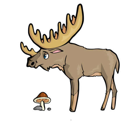 Moose Friendly Cute forest animal Cartoon. Vector illustration.