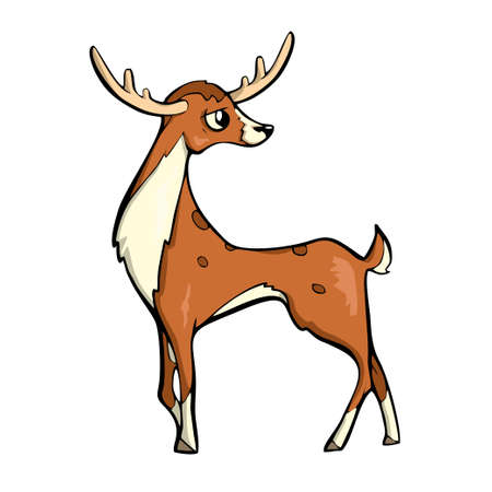 Deer Friendly Cute forest animal Cartoon. illustration. Banco de Imagens