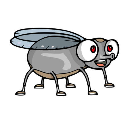 Cute little cartoon fly insect. Vector illustration Ilustração