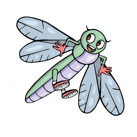 Dragonfly Cute insect cartoon Vector illustration.