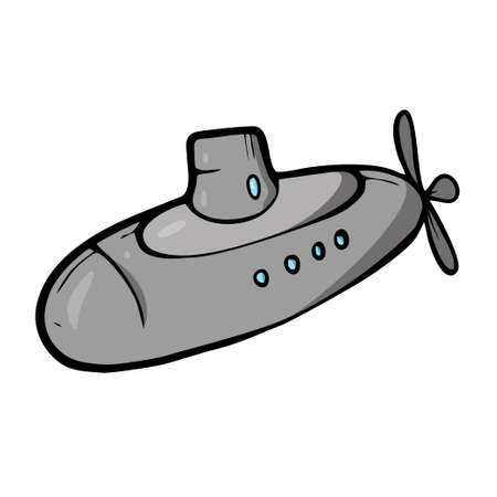 Submarine on white background Cute Cartoon transport. . Vector illustration
