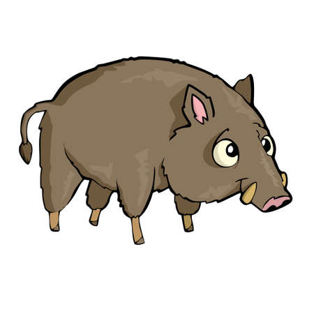 Hog Friendly Cute forest animal Cartoon. Vector illustration