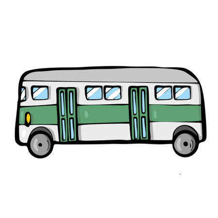 Bus on white background Cute Cartoon transport. . Vector illustration