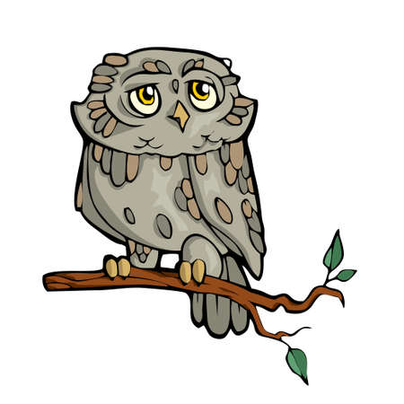 Owl Friendly Cute forest animal Cartoon. Vector illustration