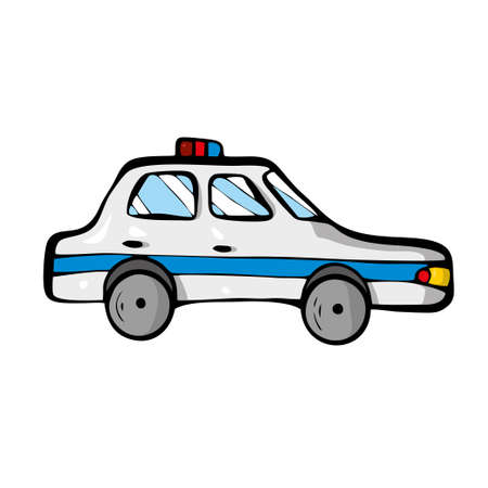Police car on white background Cute Cartoon transport. . Vector illustration Illustration