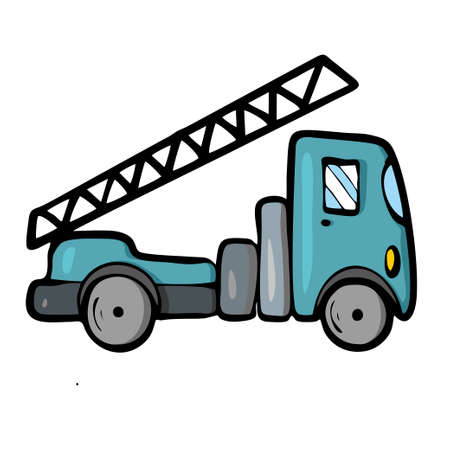 Lorry on white background Cute Cartoon transport. Vector illustration.