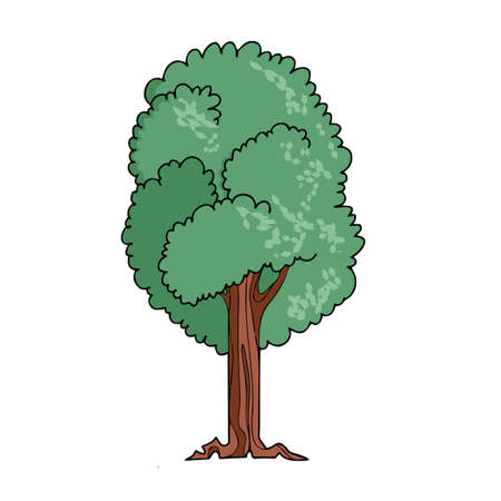 Tree on white background Cute Cartoon. Vector illustration Ilustração