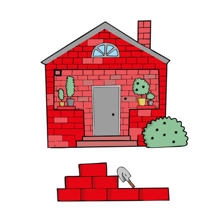 Brick house on white background Cute Cartoon Vector illustration. Ilustração