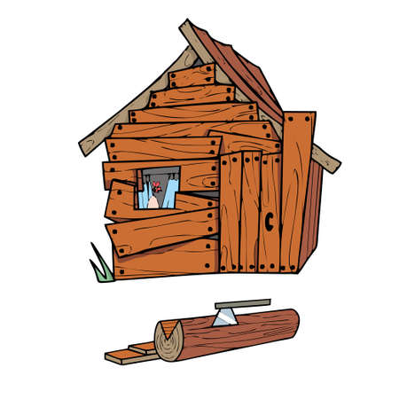 Wooden house on white background Cute Cartoon Vector illustration.