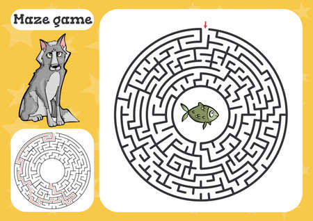 Maze game for children Cute cartoon worksheet . Vector illustration