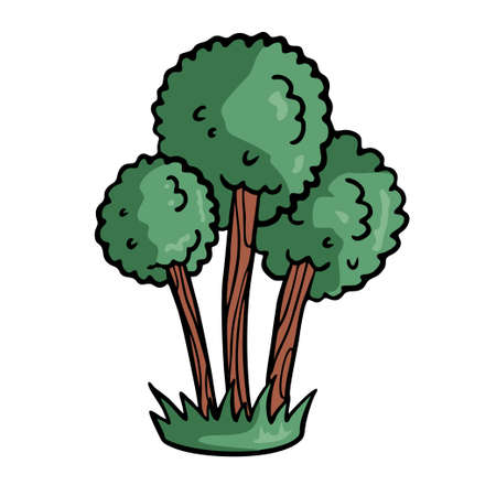 Tree on white background Cute Cartoon Vector illustration.