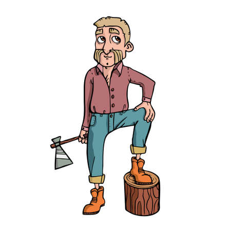 Lumberjack on white background Cute Cartoon Vector illustration.