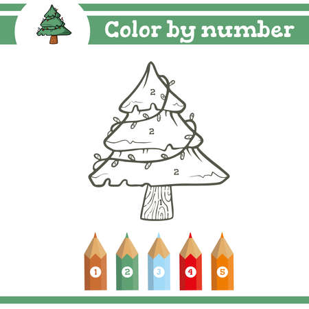 Christmas game Color by numbers. Coloring page for preschool children. Learn numbers for kindergartens. Educational game. Vector illustration Ilustração