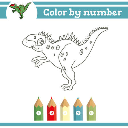 Dinosaurs Color by numbers. Coloring page for preschool children. Learn numbers for kindergartens. Educational game. Vector illustration