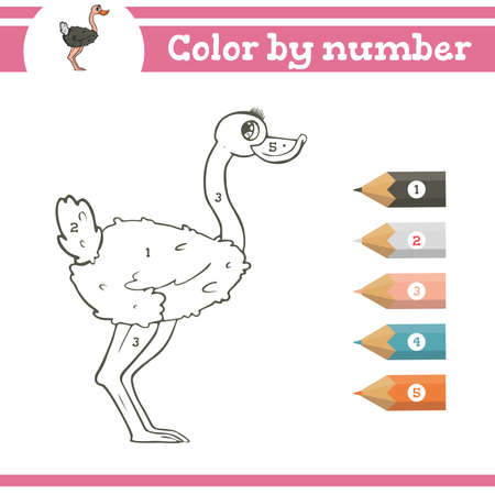 Color by numbers. Coloring page for preschool children. Learn numbers for kindergartens. Educational game. Vector illustration Ilustração