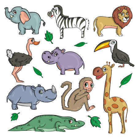 African animals on white background Cute Cartoon Vector illustration