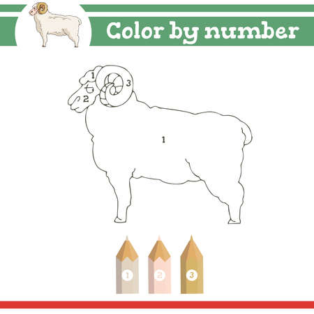 Color by numbers. Coloring page for preschool children. Learn numbers for kindergartens. Educational game. Vector illustration