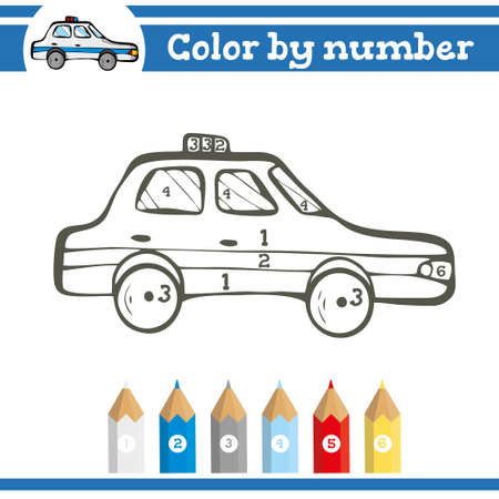 Color by numbers. Coloring page for preschool children. Learn numbers for kindergartens and schools. Educational game. Vector illustration Vektoros illusztráció