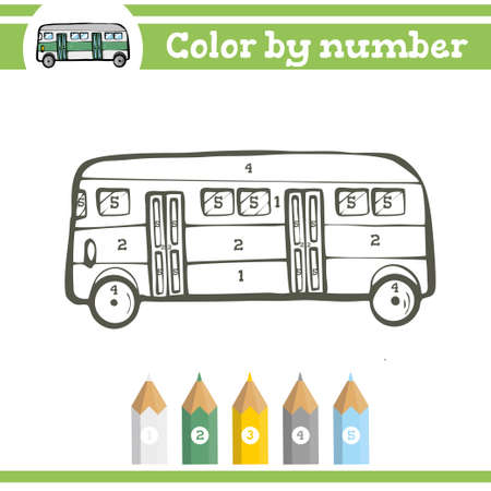 Color by numbers. Coloring page for preschool children. Learn numbers for kindergartens and schools. Educational game.