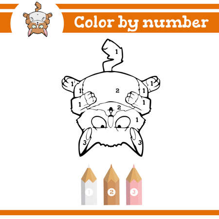 Color by numbers. Coloring page for preschool children. Learn numbers for kindergartens and schools. Educational game. Vector illustration