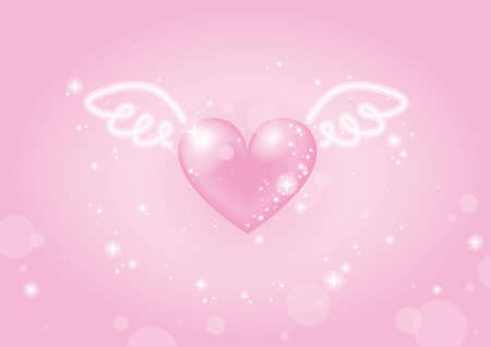 pink heart with wings Stock Photo