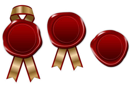 red wax seal with ribbon