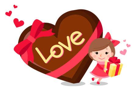 valentine illustration-a pretty girl with heart choco