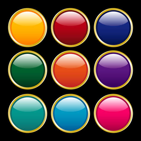 llustration - Multicolored shine buttons with gold flames