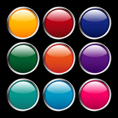 llustration - Multicolored shine buttons with silver flames