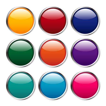 llustration - Multicolored shine buttons with silver flames Stock Photo - 17896738