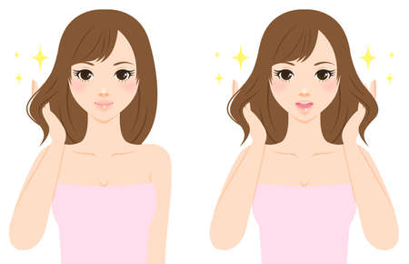 looking straight: Beautiful woman caring her hair Stock Photo