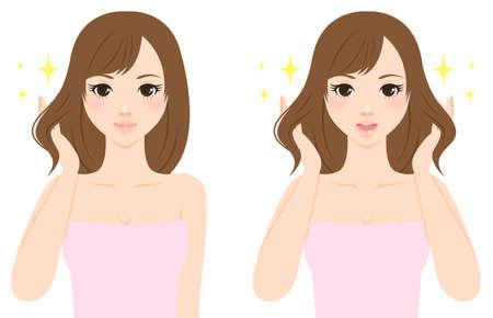Beautiful woman caring her hair Stock Photo