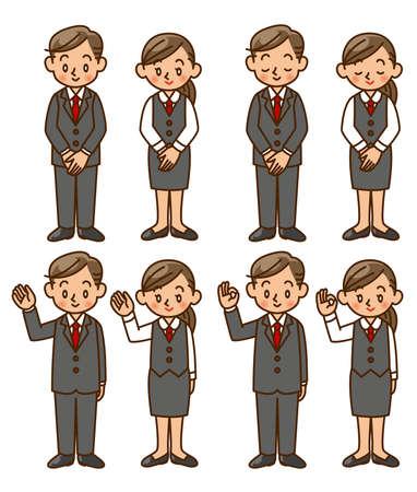 businessman, businesswoman, suit, pose, set