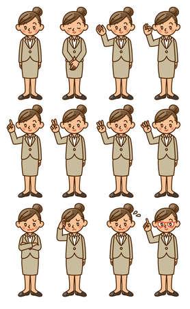 businesswoman, suit, pose, set