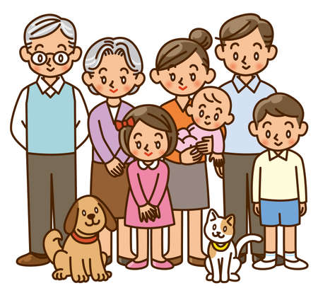 family, home, three generation, pet photo