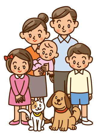 two generation family: family, home, two generation, pet Stock Photo