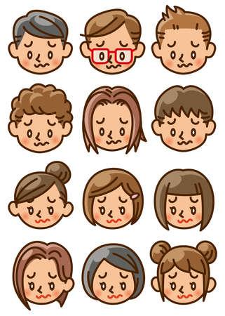 girl, boy, face, icon